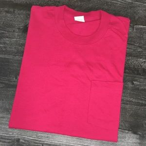 1990s Pink Fruit Of The Loom Pocket Tee
